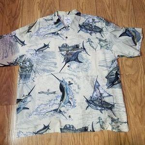 Guy Harvey White Hawaiian shirt